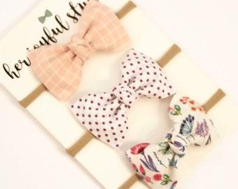 Baby Bow Headband, Pink Headband, Baby Headband Set, Baby Headbands, Pink Bow Headband, Swiss Dot Bow, Headband Set for Babies