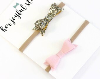 pink and gold baby girl headband set, gold bow, pink bow, headband set, glitter bow, pink baby bow, toddler bow, felt bow, bow RILEY