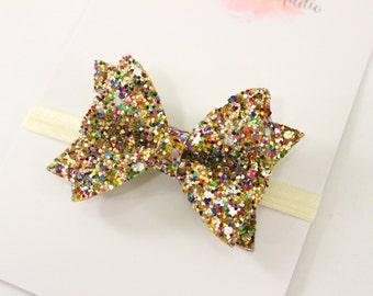 gold baby bow - glitter headband - baby girl headband - glitter bow - gold headband