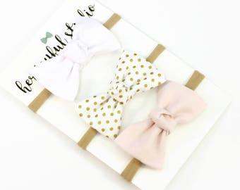 Baby Headband, Bow Headband Set, Baby Girl Bow Headband, bow headband baby, bow headband set, pink and gold baby bow, Zoey