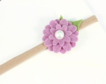 Baby Headband, Flower Headband, Felt Flower Headband, Purple Flower Headband, Newborn Flower Headband, Flower Headband, Baby Flower Headband