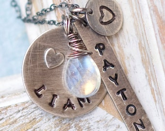 Mommy Necklace, Personalized Mother's Necklace, Birthstone Necklace, Personalized Charm Necklace, Stamped Necklace, Family Necklace