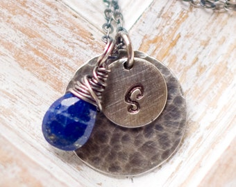 Personalized Necklace, Birthstone Necklace, Initial Necklace, Hand Stamped Necklace, Wire Wrapped, Mom Necklace