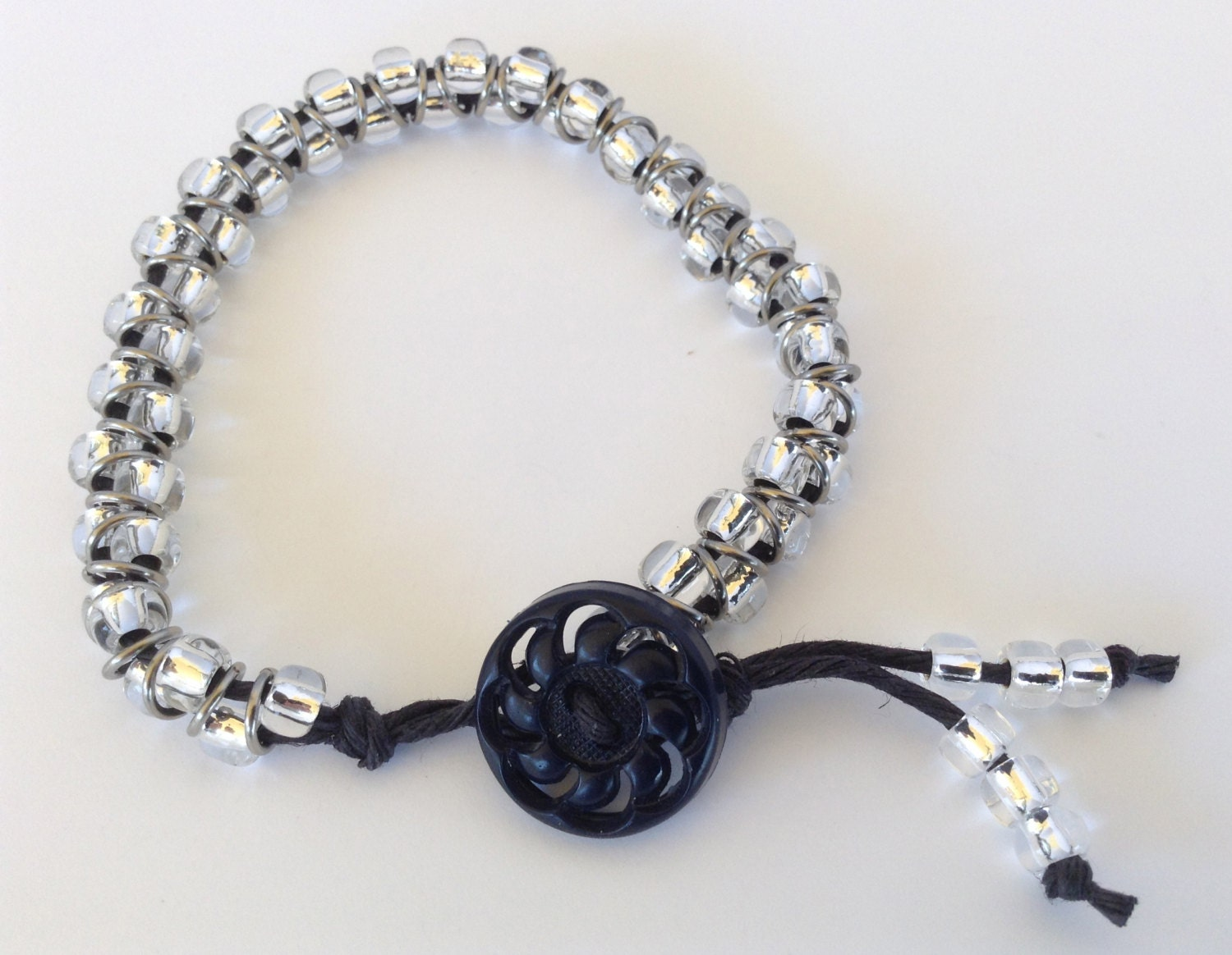 Beaded Bracelet With Black Hemp Cord And Antique Black Button