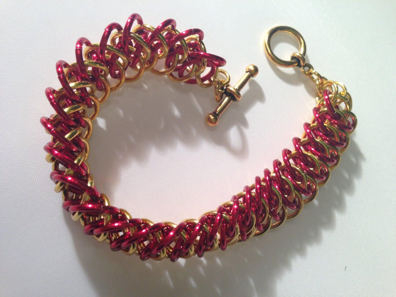Chainmaille Bracelet, Gold and Red Festive, Elegant Bracelet ...
