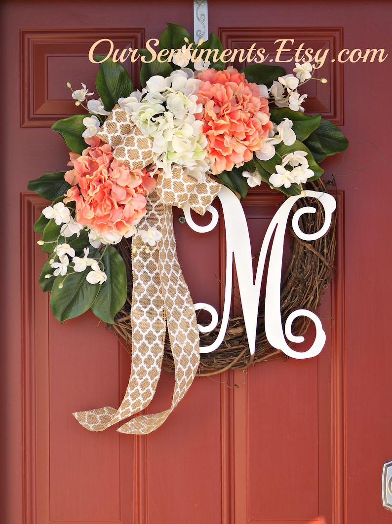 Best Selling Grapevine Hydrangea Door Wreaths Burlap Wreath Etsy