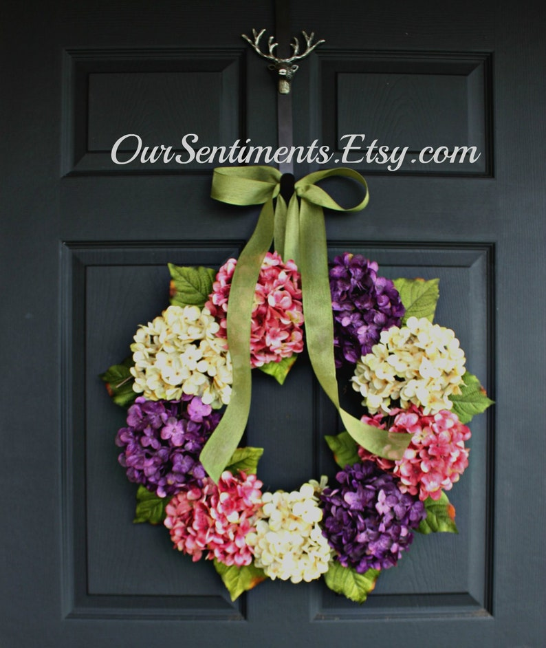 Hydrangea Wreath Summer Wreath Door Wreath Wreath For Door Etsy