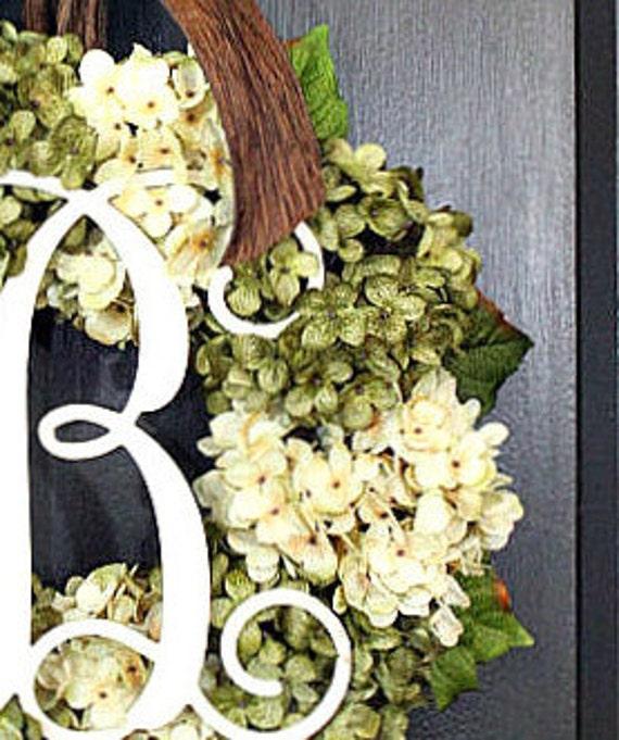 Hydrangea WreathFall WreathMonogrammed GiftDoor WreathsGiftsBirthdayHousewarmingShower Gifts