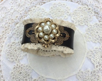 "Brown Leather & Lace Cuff Bracelet with ""Pearl and Gold"" Brooch  / Item #B1126"