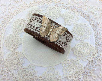 Brown Leather & Lace Cuff Bracelet with Butterfly Brooch  / Item #B1125