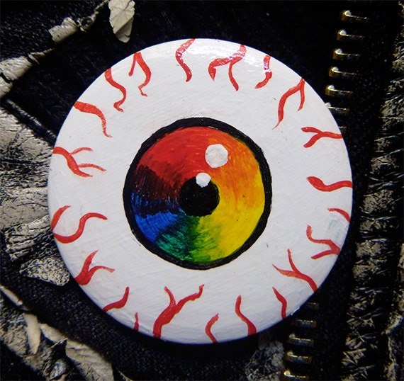 Items Similar To Rainbow Color Wheel Eye Pin Pretty Creepy