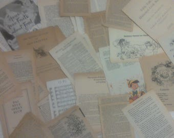 Vintage book pages 50 pcs.*kids*dictionary*french*german*dutch*bible*cooking*music*epehmera*junk journal*scrapbooking*collage