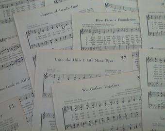 2-Vintage 1966 Hymn Book pages*set 15*junk journal*scrapbook*book pages*paper craft*prayer journal*faith journal*ephemera*vintage ephemera