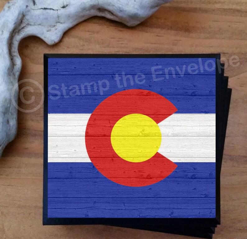 Colorado Flag Coasters  Colorado  Gifts  Set of 4 Bar image 0