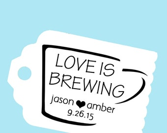 Custom Coffee or Tea Wedding Favor Stamp -  Personalized Self Inking Stamp for Hang Tags or cards