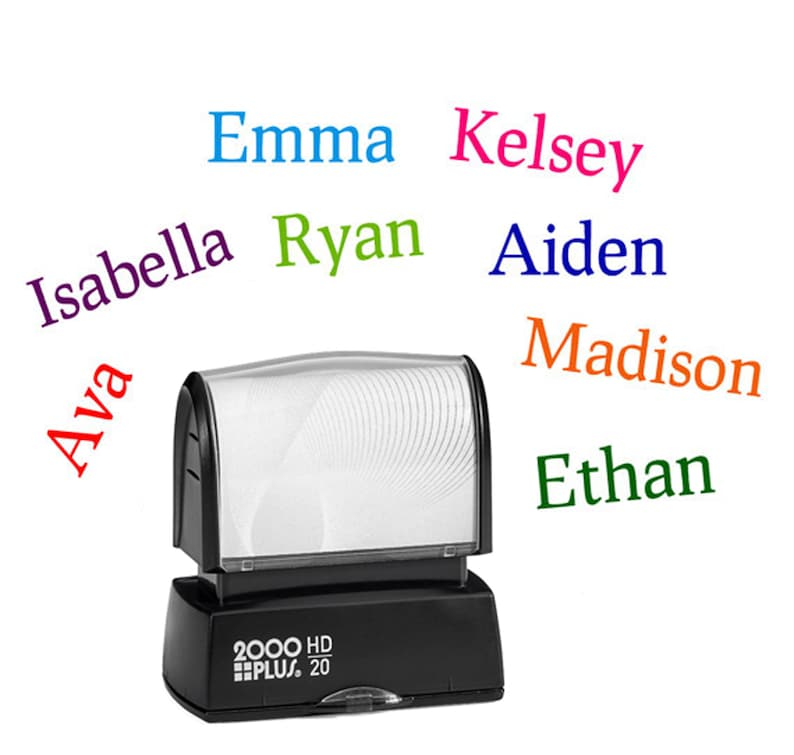 Name stamp for kids  Childrens personalized rubber stamp  image 0