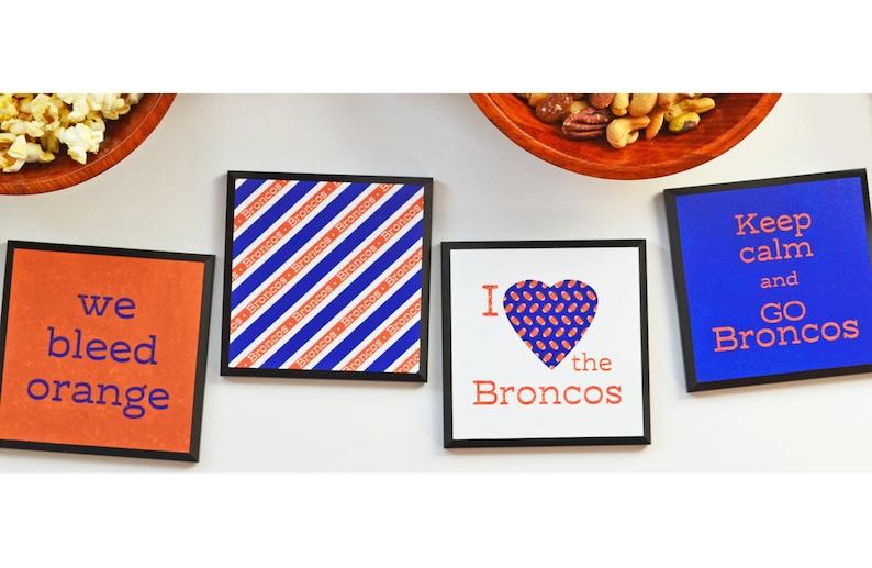 Denver Broncos Coasters  Broncos set of 4 different coasters image 0