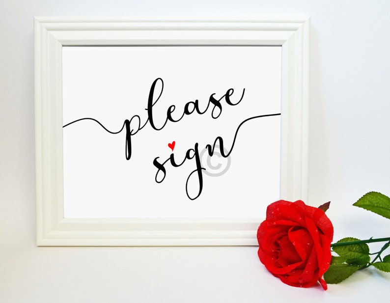 Wedding Guestbook Print Please Sign Our Guestbook 8x10 image 0