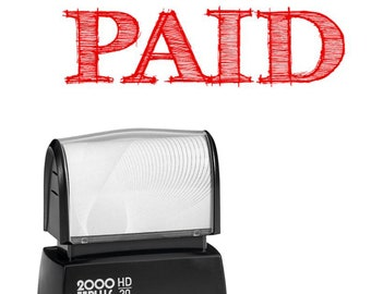 PAID stamp for business or home - Self Inking Red ink stamp for paying bills or to use with your business including your Etsy shop