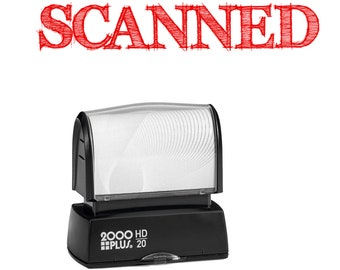 SCANNED stamp, red self inking for business or home, high quality