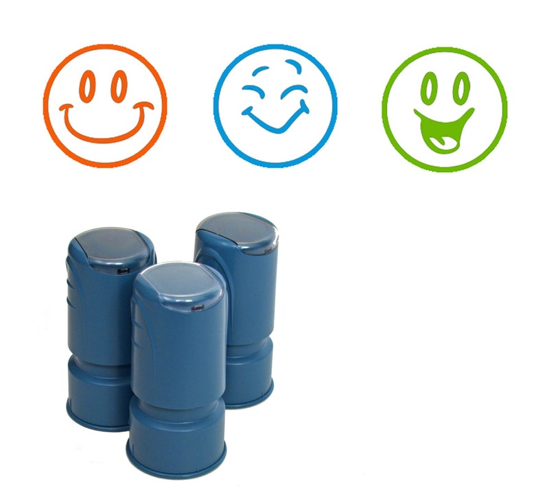 3 Happy Face Stamps Self Inking Rubber Smiley Face Stamps for image 0