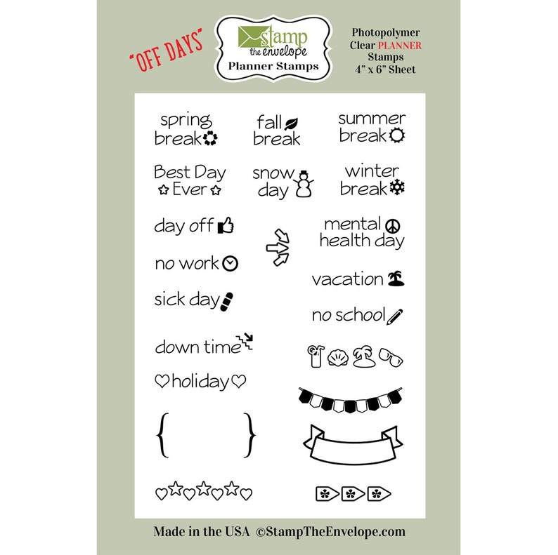 Days Off PLANNER Clear Sheet Cling Stamp Set image 0