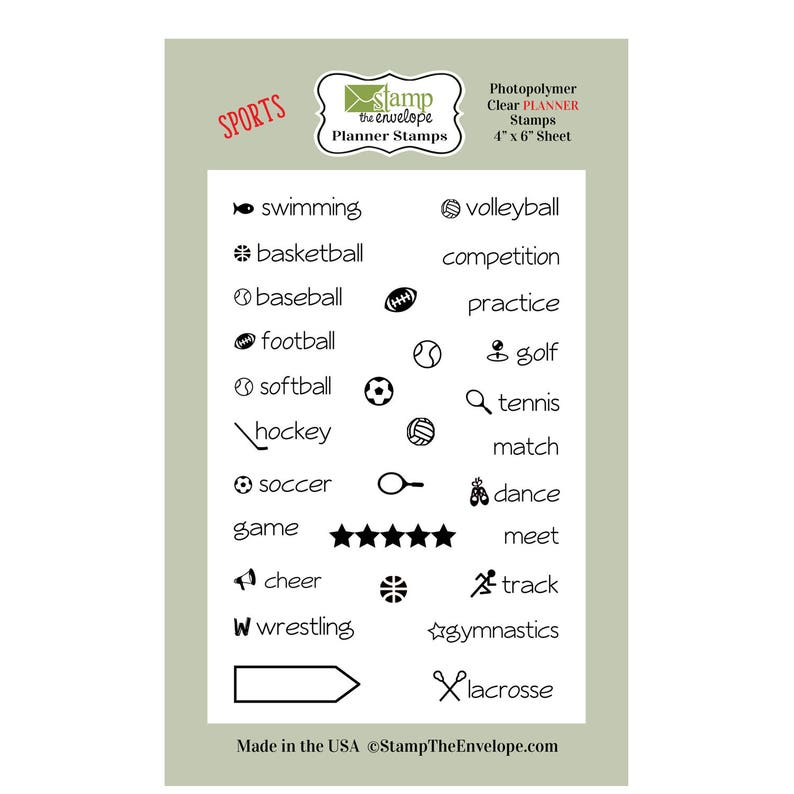 Sports PLANNER Clear Sheet Cling Stamp Set image 0