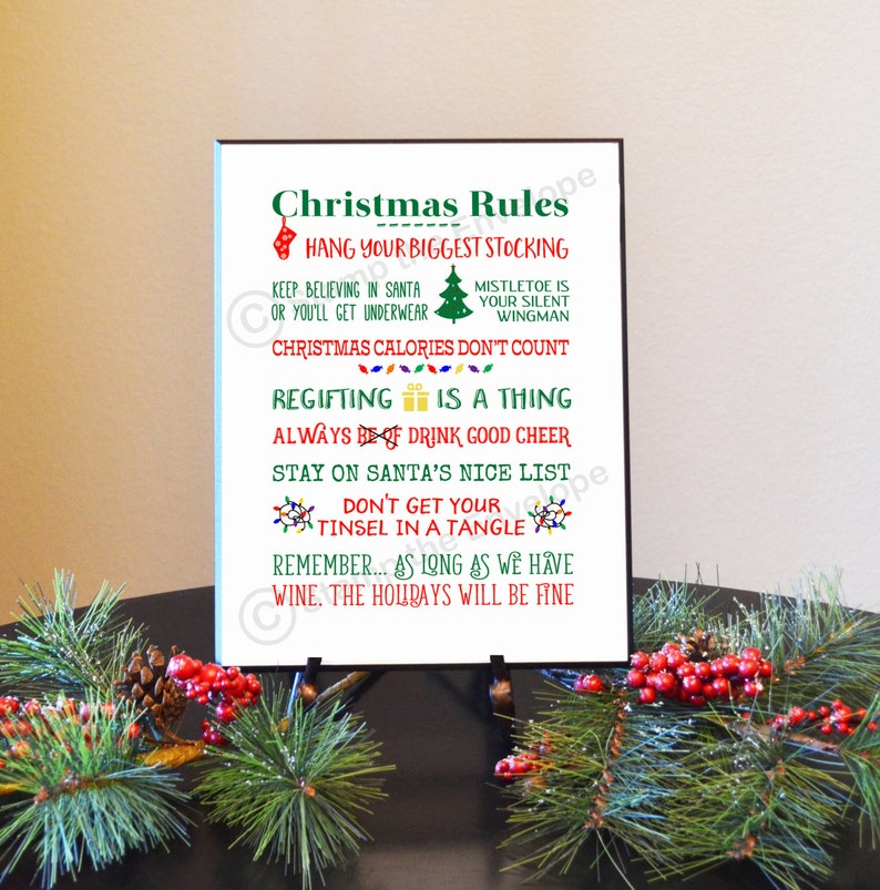 0fc612d0 FUNNY CHRISTMAS Rules Sign Family Rules Wood Sign Christmas | Etsy