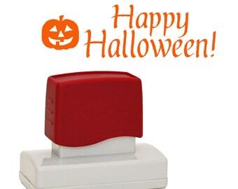 Halloween Stamper, Self inking, Happy Halloweeen stamp, Pumpkin or Spider web stamp