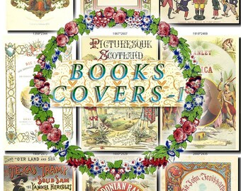BOOKS COVERS-1 Collection of 100 vintage images High resolution HQ old digital download item images printable clip art scans pictures frames