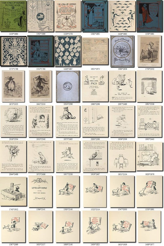 CHILDREN BOOKS-4-bw illustrations Collection with 500 black-and-white vintage images High resolution HQ old digital download item printable