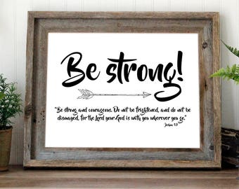 Be strong arrow print   Joshua 1:9 Bible verse wall art   Cursive nursery art printable quote   Boho Baby Boy Nursery Decor Art   Boy Saying