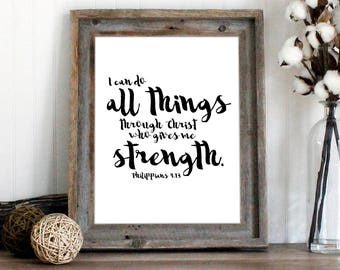 Philippians 4:13 Bible Verse Wall Art | Scripture Art Print | I can do all things | instant download printable quote