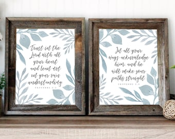 Proverbs 3:5-6 Bible verse wall art | Scripture art print | Trust in the Lord quote | Christian Home Decor | instant download printable