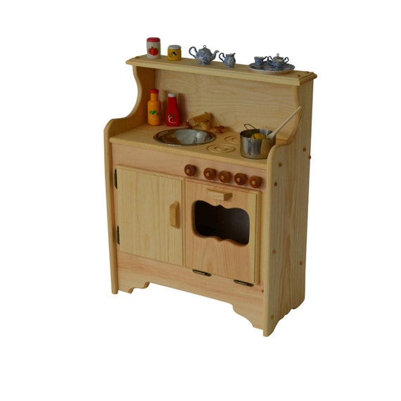 Handcrafted Natural Wooden Toy Play Set Waldorf Kitchen Play Etsy