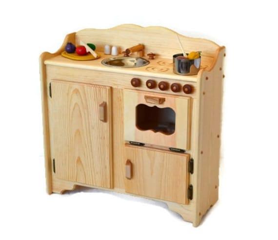 Natural Wooden Play Kitchen-Wooden Toy Kitchen-Christina\'s Kitchen Deluxe  -Montessori Kitchen-Wooden toys- Waldorf play kitchen