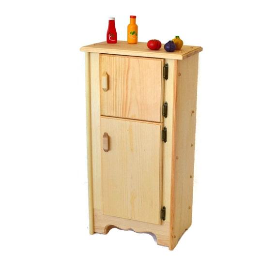 Natural Wooden Toy- Kitchen Icebox/Refrigerator-Waldorf play  kitchen-Montessori wooden toy-Child\'s Kitchen