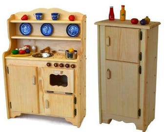 Waldorf Wooden Play Kitchen-Natural toy kitchen- Wooden Toys- Montessori Wooden Play Stove- Child's Play Kitchen-Pretend Play Food