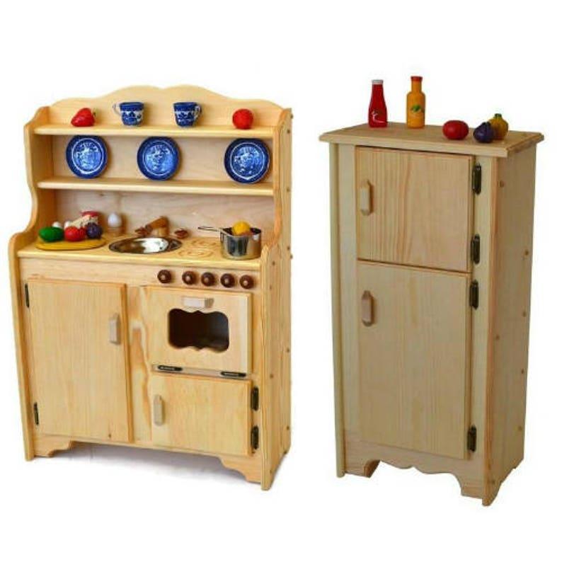Waldorf Wooden Play Kitchen Natural Toy Kitchen  Wooden Toys  Montessori  Wooden Play Stove  Childu0027s Play Kitchen Pretend Play Food