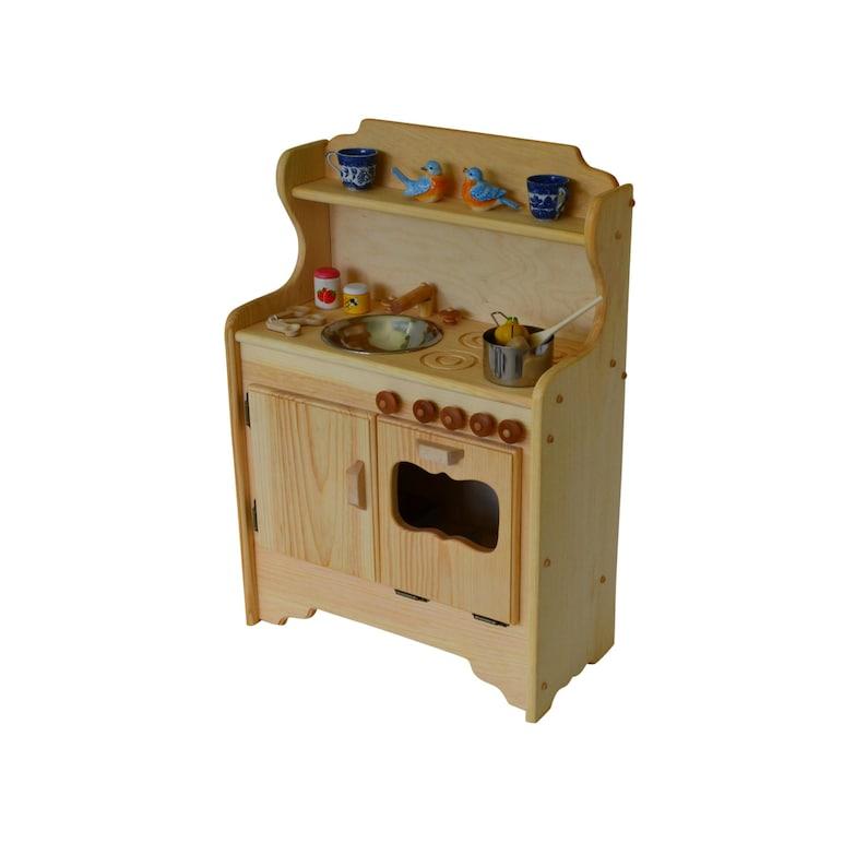 Natural Wooden Play Kitchen- Toy kitchen- Waldorf Kitchen-Montessori Stove-  Pretend Play- Wooden Toy- Play Food- Child\'s Kitchen- Play Stove