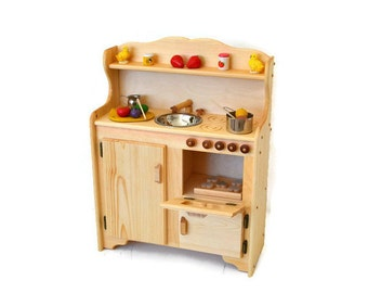 Waldorf child's Kitchen-Wooden Play Kitchen -Wooden Toy kitchen - Montessori Wooden Kitchen - Wooden toys- Play Food- Pretend Play-