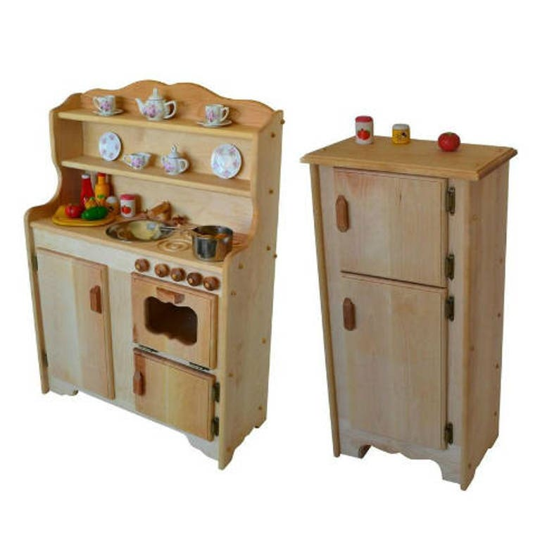Waldorf Wooden Play Kitchen-Natural toy kitchen- Wooden Toys- Montessori  Wooden Play Stove- Child\'s Play Kitchen-Pretend Play Food