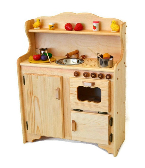 Waldorf child\'s Kitchen-Wooden Play Kitchen -Wooden Toy kitchen -  Montessori Wooden Kitchen - Wooden toys- Play Food- Pretend Play-