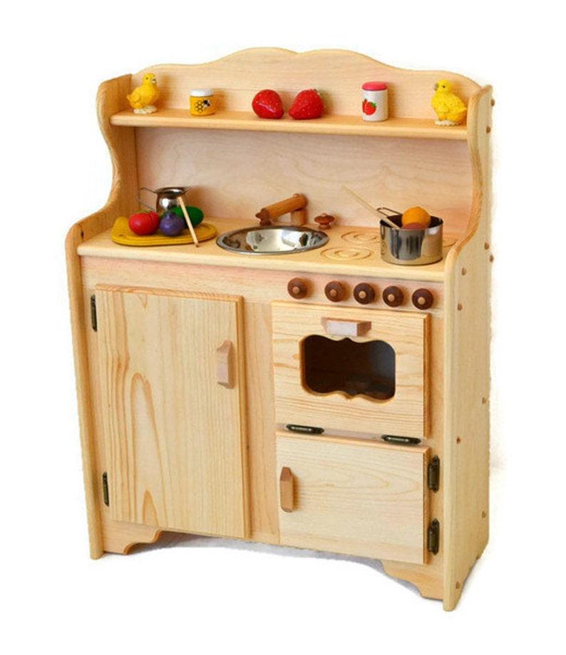Waldorf child\'s Kitchen-Wooden Play Kitchen -Wooden Toy kitchen -  Montessori Wooden Kitchen - Wooden toys- Play Food- Pretend Play-