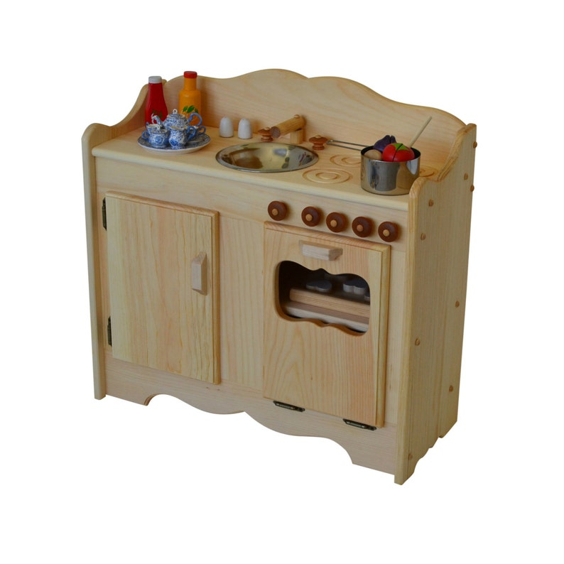 Natural Wooden Play Kitchen-Waldorf Play Stove-Child\'s Montessori Toy  Kitchen- Wooden Toys- Wooden Toy Kitchen-