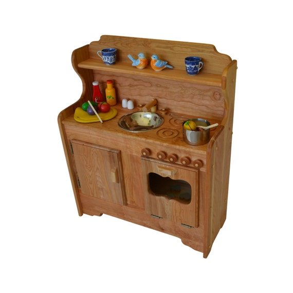 Wooden Play Kitchen -Wooden Toy kitchen - Wooden Toy Play Kitchen - Elves  and Angels- Abbie\'s Kitchen~Hardwood play kitchen