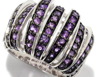 Pinctore Sterling Silver Round 1.8ctw Amethyst Nine-Row Dome Band Ring