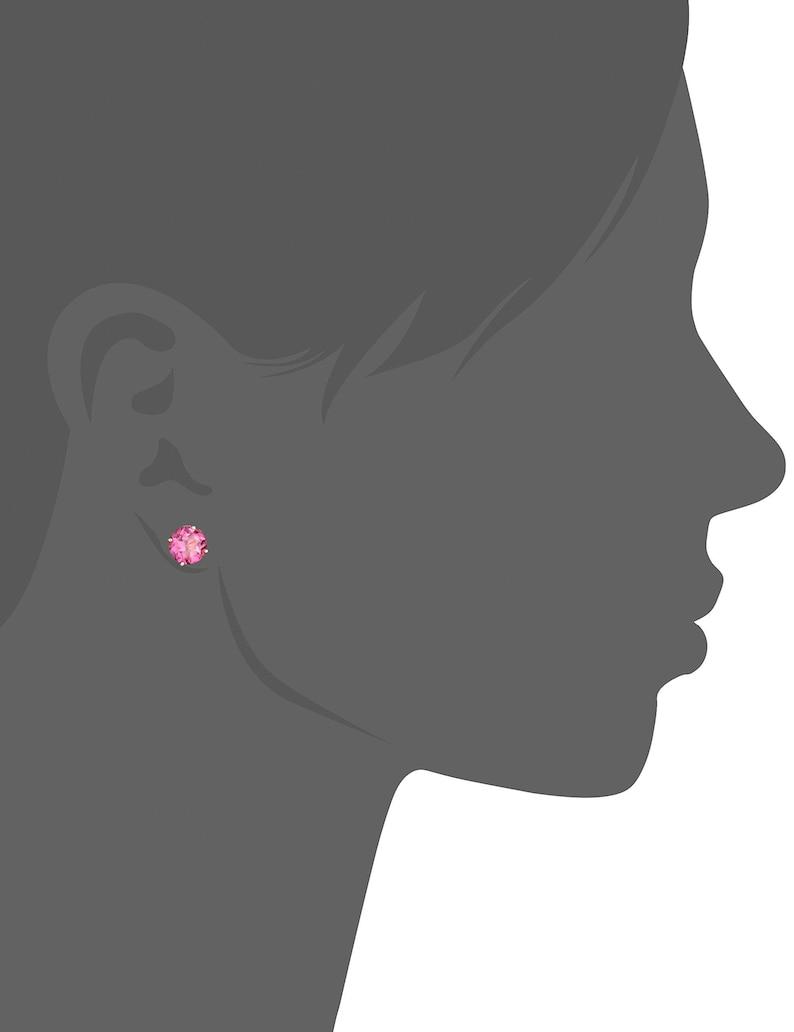 Pinctore 10k Yellow Gold Pink Topaz Round Stud Earrings