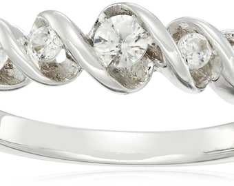 Sterling Silver Stackable White Zircon Ring, Size 7