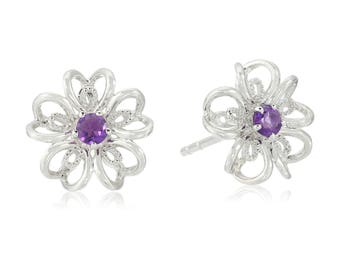 Sterling Silver flower Stud Earrings in african amethyst